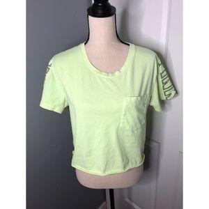 PINK Victoria's Secret Neon Green Crop Top
